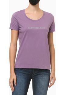 Blusa Feminina Slim Logo Centralizado Roxa Calvin Klein Jeans - P