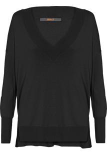 Blusa Feminina Tricot Decote V - Preto