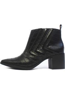 Bota Cano Curto Damannu Shoes Jennifer Croco Preto