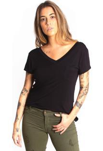 Camiseta Le Julie Decote V Preta - Kanui