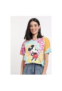 Blusa Feminina Mickey Estampada Tie Dye Manga Curta Decote Redondo Multicor
