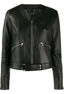 Philipp Plein Zipped Biker Jacket - Preto