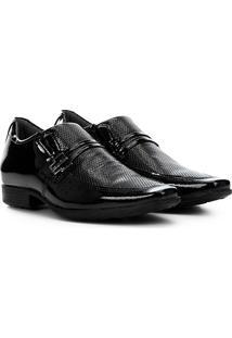 Sapato Social Couro Pegada Com Fivela - Masculino-Preto+Branco
