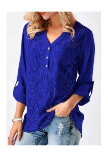Camisa Feminina Detalhe Em Renda Frontal Manga Longa - Azul Escuro