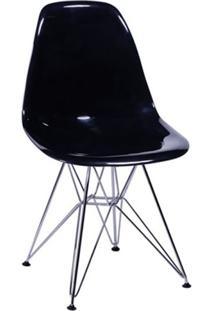 Cadeira Eames Base Cromada Preta