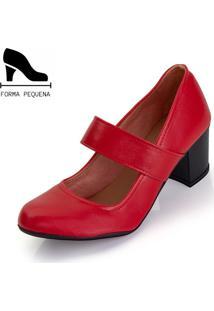Sapato Scarpin Boneca Salto Mã©Dio Grosso Vermelho - Vermelho - Feminino - Couro Sintã©Tico - Dafiti