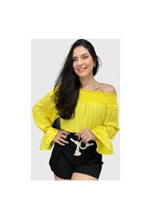 Blusa Ciganinha Viscose Amarelo
