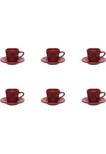 Conjunto 6 Xícaras De Café Oxford Serena Veludo Cerâmica Vermelho
