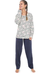 Pijama Pzama Botões Off-White/Azul-Marinho