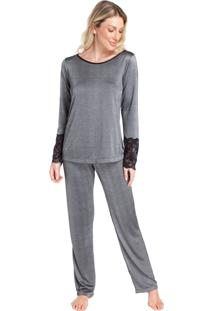 Pijama Feminino Metalic Black Com Renda