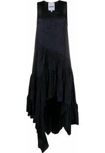 Koché Vestido Assimétrico Com Estampa Pele De Cobra - Preto