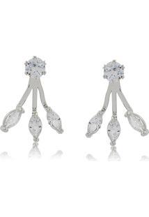 Brinco Viva Jolie Cristal Ear Jacket Navete Mini Ródio - Tricae