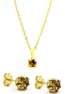 Conjunto Horus Import - Gargantilha - Brincos - Ponto Luz Banhado Ouro Amarelo 18K - Kit10543 - Amarelo Citrino