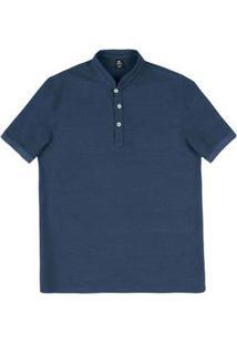Camisa Polos Masculina Regular Com Gola Diferenciada
