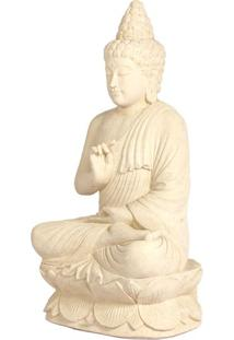 Escultura Buddha De Pedra Branca 70Cm