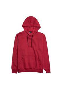 Moletom Liso Feminino Blusa De Frio Canguru Vermelho