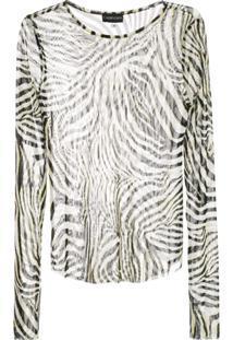 Callipygian Blusa Com Estampa De Zebra E Detalhe De Tela - Branco