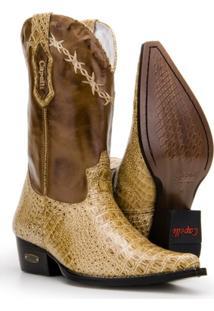 Bota Texana Country Capelli Boots Jacaré Em Couro Com Bico Fino Masculina - Masculino