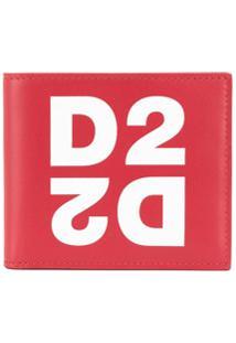 Dsquared2 Carteira Dobrável Vermelha De Couro Com Logo - Vermelho