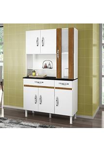 Armário De Cozinha 6 Portas 2 Gavetas Sampaio Chf Branco/Caramelo