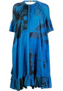 Marine Serre Vestido Evasê De Seda Com Estampa Floral - Azul