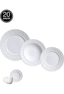 Jogo De Jantar 20 Pçs Branco Porto Brasil