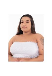 Sutiã Click Chique Básico Plus Size Top Faixa Tomara Que Caia Branco