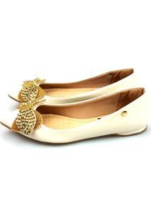 Sapatilha Love Shoes Bico Fino Pedraria E Strass Verniz Off White