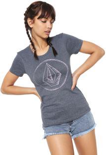 Camiseta Volcom Logo Cinza