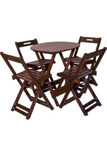 Jogo De Mesa Bar Tampo Redondo 70X70 Com 4 Cadeiras Dobrável Imbuia - Btb Móveis