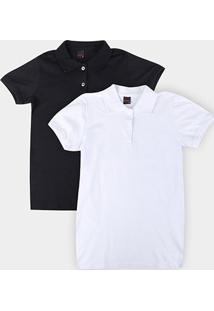 Kit 2 Camisas Polo Básicos Lisa Feminina - Feminino-Preto+Branco