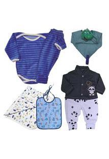 Enxoval Roupas De Bebê Kit 6 Pç Macacáo Suedine Body E Mijáo Azul