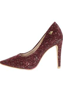 Scarpin Salto Alto Week Shoes Glitter Furtacor Marsala