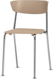 Cadeira Bit Assento Bege Base Cromada - 53669 Sun House