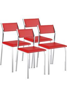 Cadeira 1709 Cromada 04 Unidades Napa/Vermelho Real Carraro