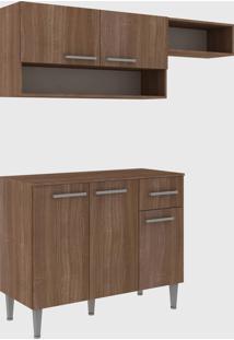 Cozinha Modulada C/ Tampo Madri 5 Portas Teka Fellicci Mã³Veis Marrom - Marrom - Dafiti