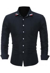Camisa Masculina Slim Fit Com Detalhe Na Gola Manga Longa - Preto