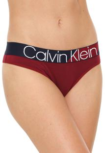 Calcinha Calvin Klein Underwear Tanga Bold Bordô