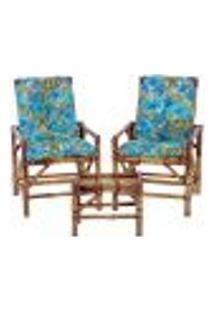 Conjunto Mesa E 2 Cadeiras De Bambu Cancun Para Área Edicula Jardim G35