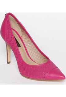 Scarpin Em Couro Com Recortes Vazados - Pink - Saltojorge Bischoff