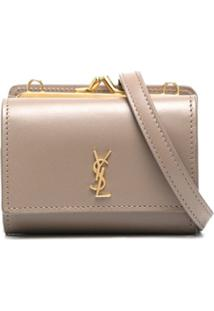Saint Laurent Leather Crossbody Cardholder - Neutro