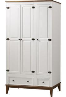 Armario Malibu 3 Portas E 2 Gavetas Cor Branco Com Amendoa 204 Cm - 63590 - Sun House
