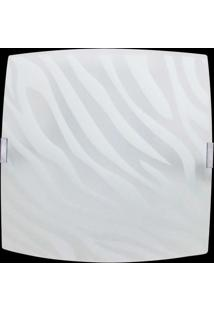 Plafon Sobrepor Quadrado Grande Zebra Branco Bivolt