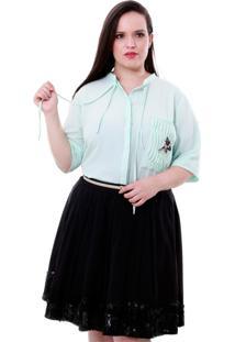 Camisa Bolso Libélula Plus Size Vickttoria Vick Plus Size Azul