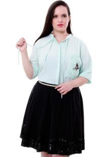 Camisa Vickttoria Vick Bolso Libã©Lula Plus Size - Azul - Feminino - Dafiti