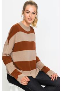 Suéter De Tricô Gola Alta Listrado Caramelo