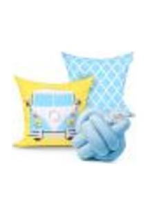 Jogo De Capa Almofada Azul E Amarela Para Quarto Decorativa 2 Unidades 45Cm X 45Cm + Almofada De Nó Escandinavo
