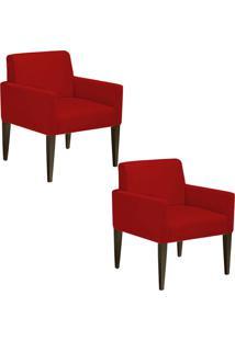 Kit 02 Poltronas Decorativa Dani Para Sala E Recepção Suede Vermelho - D'Rossi