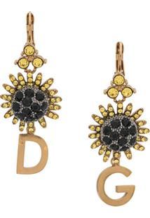 Dolce & Gabbana Par De Brincos Com Aplicação De Cristais - Dourado