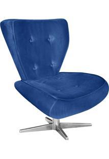 Poltrona Decorativa Tathy Suede Azul Royal Com Base Estrela Aço Cromado - D'Rossi